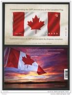 Canada, 2015,#2808 MNH, Drapeau, Flag  $5.00 Stamp, Fabric Stamp, - Blocs-feuillets