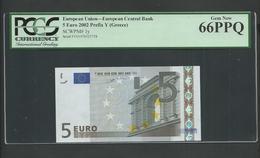"GREECE: ""Y"" 5 EURO Duisenberg Signature PMG 66 GEM UNC!! (Exceptional Paper Quality-EPQ)! Printer N001G1B - EURO"