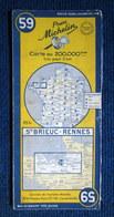 """Carte Pneu (Pneumatique) MICHELIN: """"ST BRIEUC - RENNES"""" N°59 Map Bretagne Cote Du Nord D'Armor Ille & Vilaine Pub 1954 ! - Cartes Routières"""