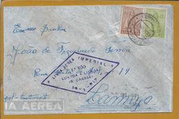 Rara Carta De Angola Com Obliteração Do 1º Vôo Da Linha Aérea Imperial Luanda Lisboa 1947. Imperial Airline Luanda. 2sc - Luchtpostzegels