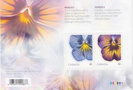 CANADA, 2015, # 2809,  FLOWER: PANSIES, Souvenir Sheet Of 2 Stamps - Blocs-feuillets