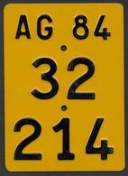 Velonummer Mofanummer Aargau AG 1984 - Plaques D'immatriculation