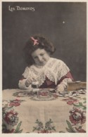Dominoes 'Les Dominos' Girl Plays With Dominoes C1900s Vintage Postcard - Cartes Postales