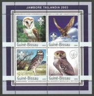 GUINEA BISSAU 2003 BIRDS OWLS SCOUTING M/SHEET MNH - Guinea-Bissau