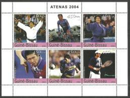 GUINEA BISSAU 2004 SPORT OLYMPIC ATHENS CYCLING JUDO FOOTBALL TENNIS M/SHEET MNH - Guinea-Bissau