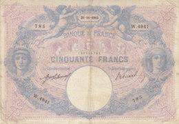 Billet 50 F Bleu Et Rose Du 21-11-1913 FAY 14.26 Alph. W.4941 - 1871-1952 Antichi Franchi Circolanti Nel XX Secolo