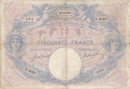 Billet 50 F Bleu Et Rose Du 30-8-1911 FAY 14.24 Alph. Z.4097 - 50 F 1889-1927 ''Bleu Et Rose''