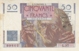 Billet 50 F Le Verrier Du 3-10-1946 FAY 20.06 Alph. L.37 P/NEUF - 1871-1952 Circulated During XXth