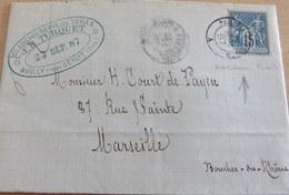 Lettre, Sage, Ambulant Sur Timbre, Paris à Tergnier (B42-L6) - Marcofilia (sobres)