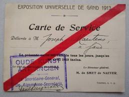 1913 Exposition Universelle Gand Carte De Service Oude Kunst Art Ancien Gent - Tickets D'entrée