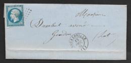 Aveyron-Lettre Avec N°14B-PC 1082 De Décazeville - 1849-1876: Période Classique