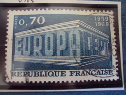 "60-69-timbre Oblitéré N°   1599 ""  EUROPA Vert 0.70     ""             0.15 - Francia"