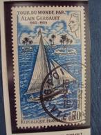 """70-79  -timbre Oblitéré N°  1621  """" Tour Du Monde D'alain Gerbault      """"    0.65 - Francia"""