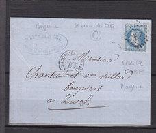 FRANCE 22 OBL PC DU GC 277 LA BACONNIERE + C DE ST OUEN DES TOITS MAYENNE - 1849-1876: Période Classique