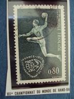 """70-79  -timbre Oblitéré N°   1629 """"   VII Championnat Du Monde De Hand Ball    """"     0.25 - France"""
