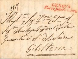 "ITALIA. Cover To Gibraltar, Year 1845. Mark ""GENOVA Corso Paricolare"" In Red. Postal History. - Italia"