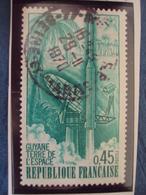 """70-79  -timbre Oblitéré N° 1635   """"  Guyanne, Terre Espace à Kourou     """"     0.65 - Francia"""