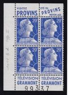 PUBLICITE: MARIANNE DE MULLER 20F BLEU 2 BANDES VERTICALES PROVINS-GRAMMONT ACCP 1383-1333 ET 1384-1333* - Publicités