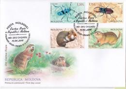 2019 , Moldova  Moldavie  Moldawien  Moldau  Red Book Insects  Rodents  Fauna , FDC - Moldova