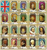 UMM AL QIWAIN 1972 British Monarchs 1066-1972 Complete Sheet Of 41 Stamps + 3 Labels Cto - Umm Al-Qiwain