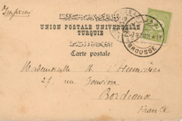TURKEY. Card From Brousse To Bordeaux (France), 24/7/1903.  Postal History. - 1858-1921 Imperio Otomano