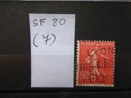 FRANCE  Perfin  Perforé SF 80  Indice 7 - France