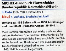 1.Auflage MICHEL Plattenfehler BUND Berlin Neu 2018 40€ Katalog Fehler Auf Briefmarken Error Stamps Catalog Germany - Erstausgaben