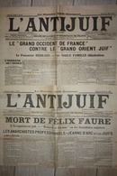 L ANTIJUIF Du 19 Fevrier Et Du 5 Mars1899 PANAMA , Mort F FAURE, Jeanne D'ARC ( Incomplets Sans Page De Caricature Int) - Journaux - Quotidiens