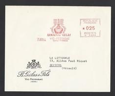 Enveloppe Avec Entête Affranchissement Mécanique Du 26/12/1964 Armagnac Gelas  Vic Fezensac Vers Béziers - Poststempel (Briefe)