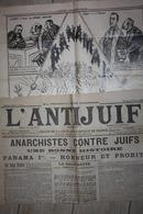 L ANTIJUIF Du 26 Fevrier 1899 PANAMA , Suite Affaire Dreyfus ...complet Avec Sa Page Intérieure De Caricatures - 1850 - 1899