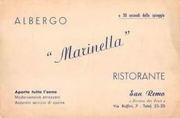 """3190 """" ALBERGO -MARINELLA-RISTORANTE-VIA RUFFINI 7 SAN REMO"""" CARTOLINA POSTALE  ORIGINALE NON SPEDITA - Alberghi & Ristoranti"""