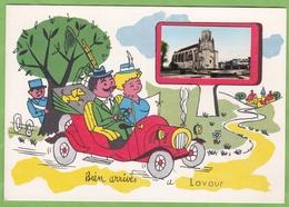 Rare CPSM LAVAUR Illustré Automobile Tacot Gendarme Eglise Biens Arrivés ... 81 Tarn - Lavaur