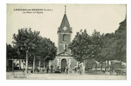 Lessard En Bresse - La Place Et L'Eglise (animation, Fin De Marché, Démontage Et Rangement) Circ 1917, Sous Enveloppe - Sonstige Gemeinden
