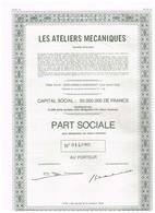 Titre Ancien - Les Ateliers Mécaniques Société Anonyme - Titre De 1971 - - Industrie