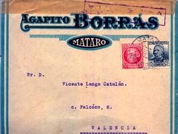 1937 , BARCELONA , SOBRE COMERCIAL CIRCULADO ENTRE MATARÓ Y VALENCIA , BANDA Y MARCA DE CENSURA DE VALENCIA - 1931-50 Briefe U. Dokumente