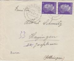 P Lettre Obl Jungholtz (T325 Jungholz A) Sur TP Reich 6pfx2=1°éch Le 9/4/43 - Alsace Lorraine