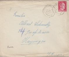 P Lettre Obl Jungholtz (T325 Jungholz A) Sur TP Reich 12pf=1°éch Le 30/1/43 - Alsace Lorraine
