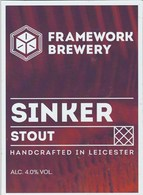 FRAMEWORK BREWERY (LEICESTER, ENGLAND) - SINKER STOUT - PUMP CLIP FRONT - Signs