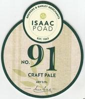 ISAAC POAD BREWERY (YORK, ENGLAND) - No 91 CRAFT PALE - PUMP CLIP FRONT - Letreros