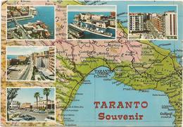 W2358 Taranto Souvenir - Carta Geografica Map Carte Geographique - Panorama Vedute Multipla / Viaggiata 1982 - Carte Geografiche