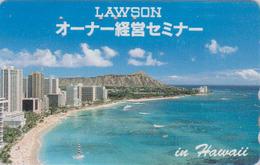 Télécarte Japon / 110-011 - HAWAII - Plage - Waikiki Beach ** LAWSON ** - Japan Phonecard - Site USA - 435 - Boats