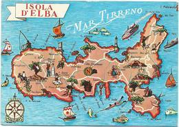 W2361 Isola D'Elba (Livorno) - Carta Geografica Map Carte Geographique / Viaggiata 1962 - Carte Geografiche