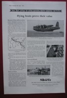 ORIGINAL 1949 MAGAZINE ADVERTR FOR SHORT BROS FLYING BOATS - Advertising