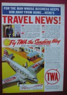 ORIGINAL UNDATED  MAGAZINE ADVERT FOR TWA  AIRLINES - Other
