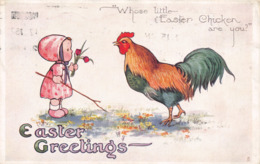 R104862 Easter Greetings. Whose Little Easter Chicken Are You. Little Easter Chicks. Oilette. No. E1158. Tuck. 1915 - World