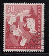 Germany 1952 Used Sc B326 Mi 154 20pf + 3pf Girls, Youth Hostel - Oblitérés