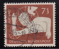 Germany 1956 Used Sc B348 Mi 232 7pf + 3pf Boy, Geometrical Designs - [7] République Fédérale
