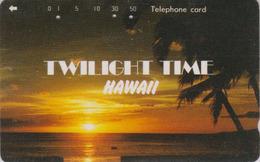 Télécarte Japon / 110-011 - HAWAII - Coucher De Soleil & Palmier - SUNSET & Palm Tree Japan Phonecard - Site USA - 442 - Paysages