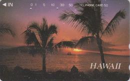 Télécarte Japon / 110-011 - HAWAII - Coucher De Soleil & Palmier - SUNSET & Palm Tree Japan Phonecard - Site USA - 443 - Paysages