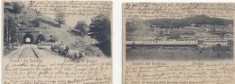 2 CPA Petit Format Salutari Din Romania Predeal / Tunnel Bustenj . Circulé 1900 ? - Romania